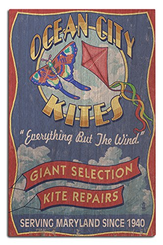 Ocean City, Maryland - Kite Shop Vintage Sign (12x18 Wood Wall Sign, Wall Decor Ready to - City Ocean Shops Maryland