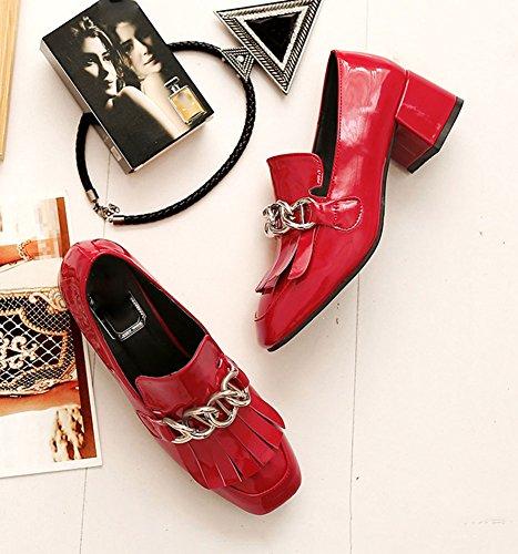 Chfso Donna Casual Frange Tacco Medio A Punta Quadrata Oxford-scarpe Rosse