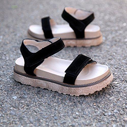 Suela a Velcro LINNUO de con Mujer Verano de Cu de Plataforma Playa Gruesa Zapato Sandalias Negro Zapatos Romanas de de vwZwXq1np