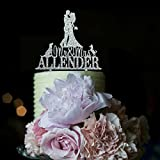 Wedding Cake Toppers Bride and Groom Kiss Vintage Mr and Mrs Personalized Last Name with Dog for Special Events