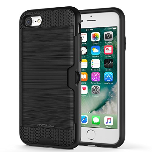 For iPhone 8 Case / iPhone 7 Case - MoKo Brushed PC Armor Card Slot Flexible TPU Defensive Case Shockproof Hard Back Cover for Apple iPhone 8 / 7, BLACK