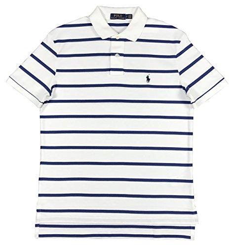 Interlock Polo (Polo Ralph Lauren Men's Pony Logo Striped Interlock Polo Shirt (M, White/Bali Blue))