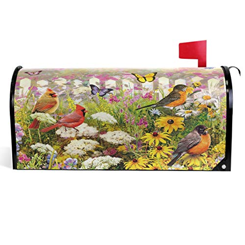 (Wamika Cute Garden Flowers Birds Mailbox Cover Spring Daisy Butterfly Mailbox Covers Magnetic Mailbox Wraps Post Letter Box Cover Standard Size 18
