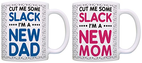 New Parents Gifts New Mom Dad Cut Me Some Slack Bundle 2 Pack Gift Coffee Mugs Tea Cups Gray (Dotted Gift)
