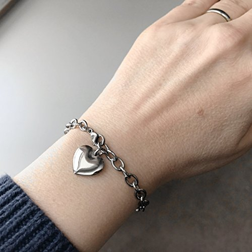 Womens Stainless Steel Heart Charm Chain Bracelet Adjustable (7.5 - 8 Inch) by Loralyn Designs (Image #2)