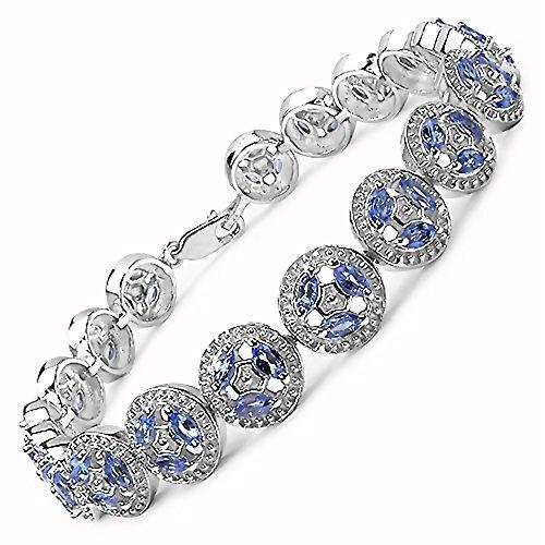 3.99 Carats Tanzanite pierres précieuses dans 22.00 grammes Bracelet en argent sterling pour les femmes - Cadeau spécial pour l'anniversaire, anniversaire