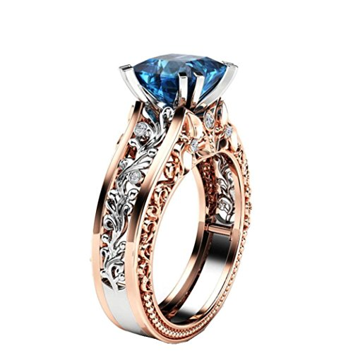 (Lethez Crystal Wedding Ring for Women, Vintage Diamond Rhinestone Floral Ring Engagement Band Jewelry (Blue, 8))
