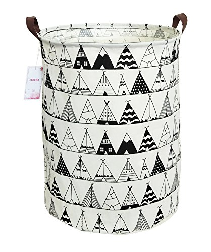 CLOCOR Large Storage Bin-Cotton Storage Basket-Round Gift Basket with Handles for Toys,Laundry,Baby Nursery (Tent)