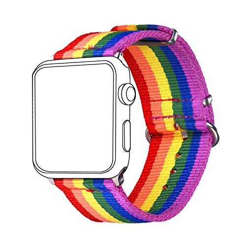 for Apple Watch Band Rainbow LGBT, Bandmax Watch Strap Comfortable&Durable Nylon Replacement Band with Metal Buckle for Apple Watch 42MM(Series (Rainbow Band)