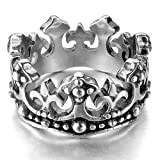INBLUE Men's Stainless Steel Ring Band Silver Tone Black Royal King Crown Knight Fleur De Lis Cross Size11