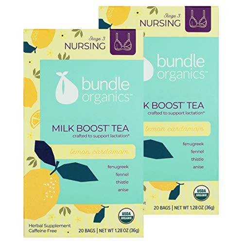 Bundle Organics Milk Boost Tea, Stage 3 Nursing, Lemon Cardamom, 20 Tea Bags (Pack of 2)