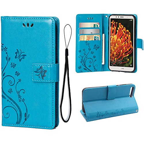 Wallet Case for Huawei Y6 2018{Not For 7A}, 3 Card Holder Embossed Butterfly Flower PU Leather Magnetic Flip Cover For Huawei Y6 2018(Blue)