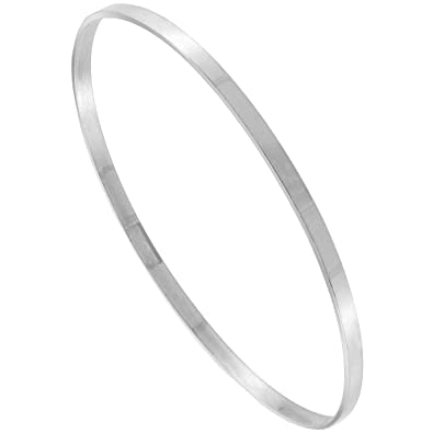 b0e40c12232 Image Unavailable. Image not available for. Color: Sterling Silver Bangle  Bracelet Slip-on Stackable Thin Square-top Handmade 7.25 inch