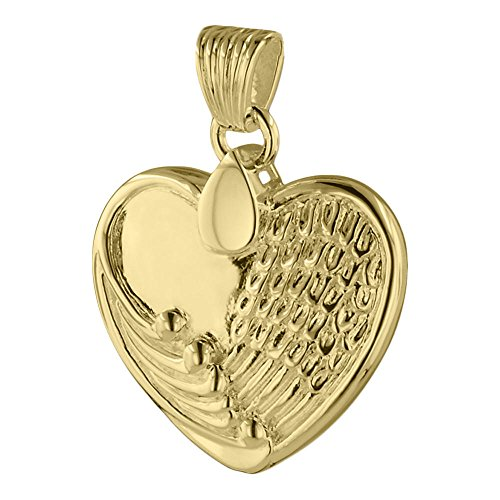 Perfect Memorials Angel Wing Heart 14k Gold Vermeil Cremation Jewelry