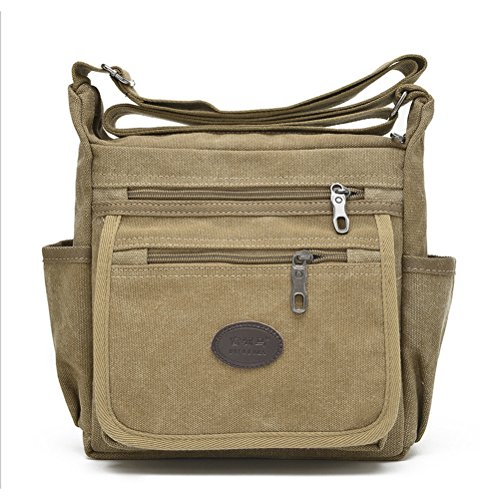 Khaki Messenger Bags (Qflmy Vintage Canvas Messenger Bag Handbag Crossbody Shoulder Bag Leisure Change Packet (khaki))
