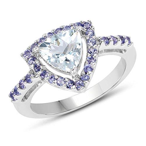 Genuine Trillion Aquamarine and Tanzanite Ring in Sterling Silver - Size (Aquamarine Trillion Ring)