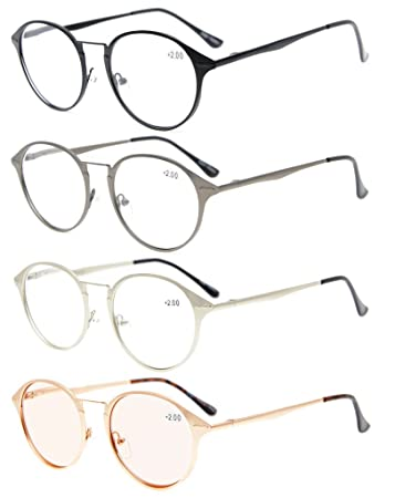 27341bc9e14 Eyekepper 4-Pack Spring Hinges Retro Round Reading glasses Included Tinted  Lens Computer Glasses +