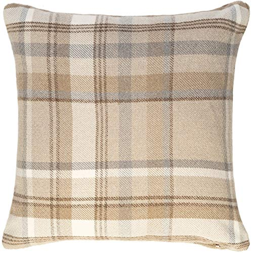 McAlister Heritage Large 28 Inch Plush Plaid Farmhouse Pillow Cover Euro Sham | Wool Striped Tartan Check | Tan 28×28 Decorative Floor Cushion Case | Retro Country Cabin Accent Rustic Decor For Sale