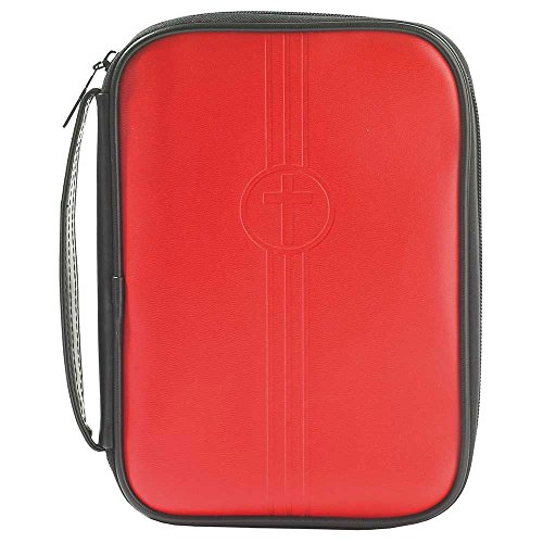 Red Embossed Cross 7.5 x 9.75 Leather Like Vinyl Thinline Bible Cover Case with Handle by Dicksons