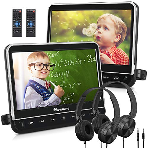 NAVISKAUTO 10.1″ Dual Car DVD Players with 2 Headphones Support 1080P Video, HDMI Input, Sync Screen, AV Out & in, Resume, Region Free, USB SD (2 x Headrest DVD Players)