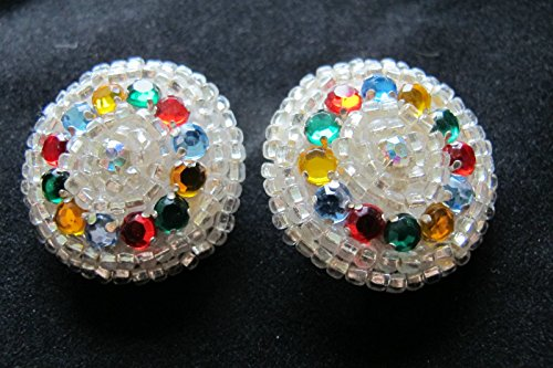Lot of 2Pcs Round Buttons Vintage Rhinestone Large Colorful Rhinestone Clear Beaded Repair Kit Clothes Decor Needlework Craft, Children Garment Sewing Buttons Crafting, Size 1-3/8