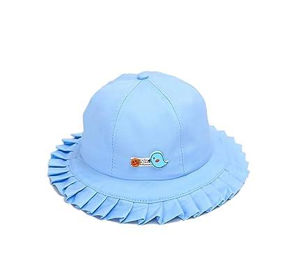 ACVIP Little Girl s Bird Decorated Pleated Sun Block Bucket Hat (Blue) 6a24fd4d2f1