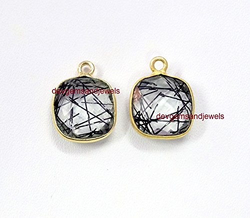 Black Rutilated Quartz Hydro Square Cushion Shape 12 mm Single Bail Gemstone 24k Gold Plated Pendant Sale 1pc.