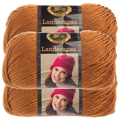 Lion Brand Yarn (3 Pack) Landscapes Yarn Acrylic 100 Percent Medium #4 Soft Yarn for Knitting Crocheting (Ochre)