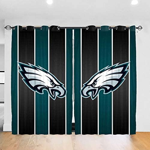 RWNFA Bald Eagle Head Blackout Window Curtain Panels 54″ W x 84″ L Noise Reducing Liner Grommet Window Draperie