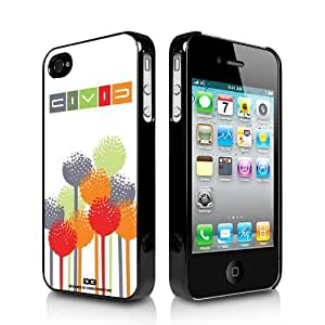 Honda Civic Color Flower iPhone 4 4S Black Cell Phone Case