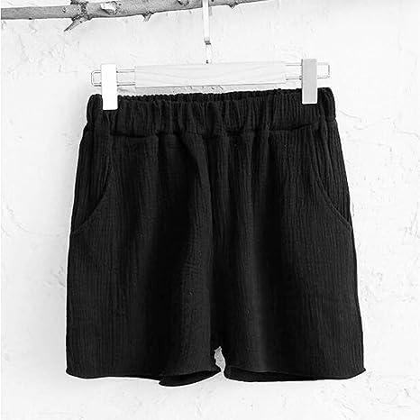 JIAHHF Shorts Mujer Verano Algodón Casual Lino Shorts Algodón Lino ...