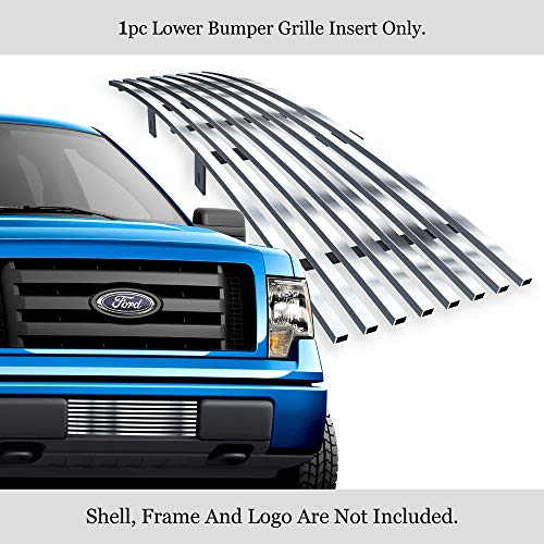 APS Compatible with 2009-2014 Ford F-150 Lower Bumper Stainless Steel Polished Chrome 8x6 Horizontal Billet Grille Insert F66789S