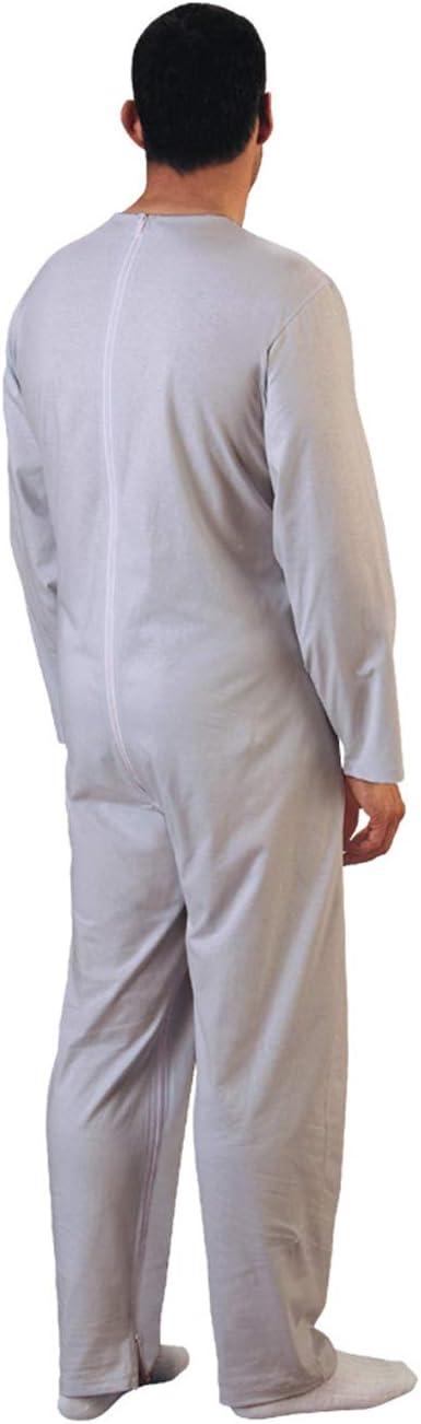 Rekordsan Pijama Antipañal Geriátrico Classic Hombre en Fresco Algodón con 1 Cremallera, Talla 2, Pack de 1