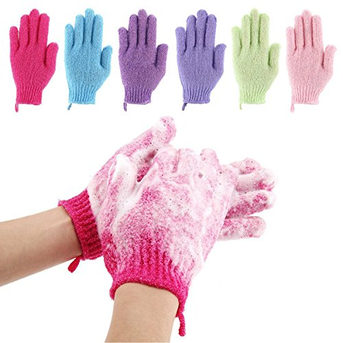 Codream 6 Pair Bath Exfoliating Gloves Nylon Shower Gloves, Bath Scrubber, Body Spa Massage Dead Skin Cell Remover Valentine's Gifts for Women Men by Codream