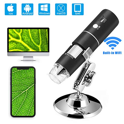 Wireless WiFi USB Microscope,Built in WiFi Wireless Digital Microscope Camera with 1080P HD 2MP 50x to 1000x Magnification Endoscope for Android, iOS, Smartphone,Windows,Mac PC,iPad
