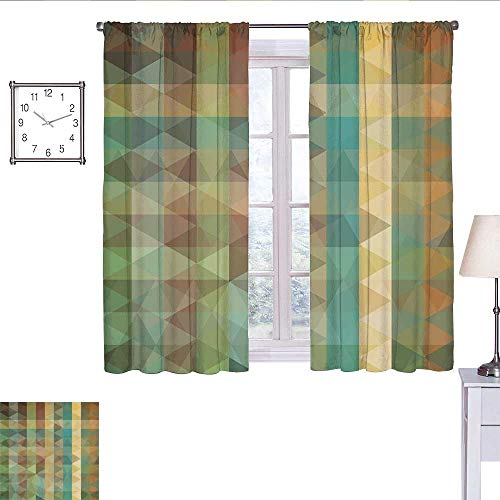 WinfreyDecor Sage Curtains for bedroo Colorful Vertical Lines with Triangles Abstract Geometrical Mosaic Form Retro Style Curtain Living Room Multicolor W55 x L39