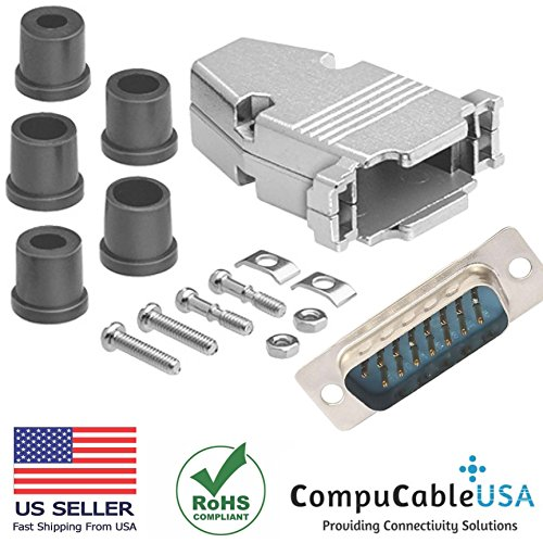 (CompuCablePlusUSA.com Best DB15 Male Solder Cup Connector Kit With Metal Hood+Grommet Strain relief Best Complete DB15 Male Solder Type set Fix/Make/Assembly your own DB15 Cable)