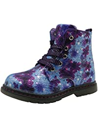 Fancyww Girls Boys Lace up Combat Boots Heart Printing Fur Winter Snow Ankle Boots Little//Big Kids