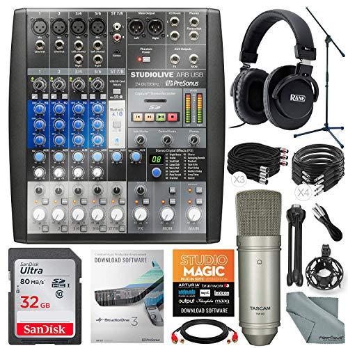 PreSonus StudioLive AR8 USB 8-Channel hybrid Performance and Recording Mixer and Platinum Bundle w/Professional Mic + Studio Headphones + 32GB + More