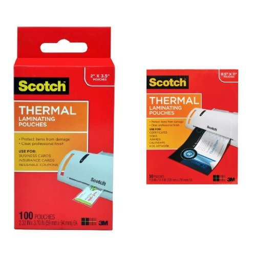Scotch Thermal Laminating Pouches, 2.32 x 3.70-Inches, Business Card Size, 100-Pack (TP5851-100) and Scotch Thermal Laminating Pouches, 8.9 x 11.4-Inches, 3 mil thick, 50-Pack (TP3854-50) Bundle