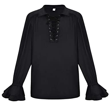 34ef2d76217 Alex sweet Men s Scottish Highland Long Sleeve Medieval Renaissance Pirate  Shirt (S