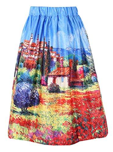 Femelle Jupe Line A Fashion Jupe Fit Jupe Femme Jupe Plisse ImprimEs Skirt Cocktail Aoliait Beau Slim ElGant Multicolore Vintage Jupe De 0qgz7wx1