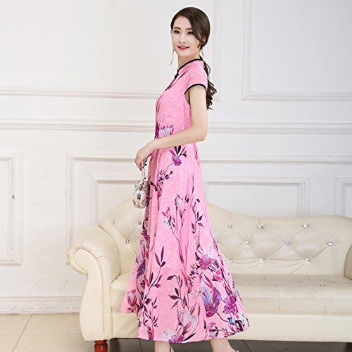 XIU*RONG Imprimir Vestir Mujer Nieve Verano Hilados Falda Falda Péndulo Grande Edad Media Falda Madre Pink
