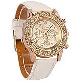atdoshop 071001AAJYK atdoshop - Reloj para mujeres, correa de cuero color blanco