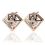 UHIBROS Diamond Shaped Earrings, Unisex Stainless Steel Cubic Zirconia Stud Earrings For Women