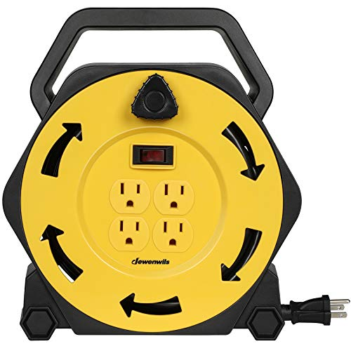DEWENWILS Extension Cord Reel with 25 FT Power Cord, Hand Wind Retractable, 16/3 AWG SJTW, 4 Grounded Outlets, 13 Amp Circuit Breaker, Yellow/Black, UL Listed (Extension Cord Reel 25)