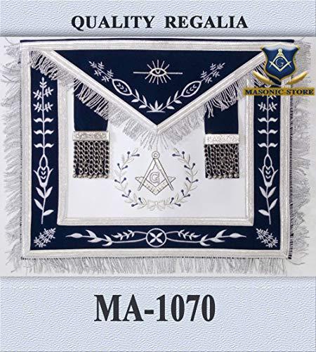Masonic Master Mason Apron Navy Blue Silver Embroidery with Fringe ()