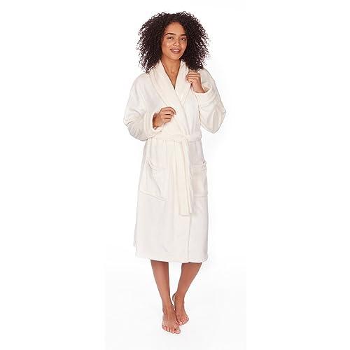 White Cream Fleece Dressing Gown: Amazon.co.uk