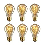 MADKING Edison Bulb, 25W A19 Filament Bulb with Medium Base (E26) Nostalgia Edison Style, Antique Light Bulbs (6 Pack)