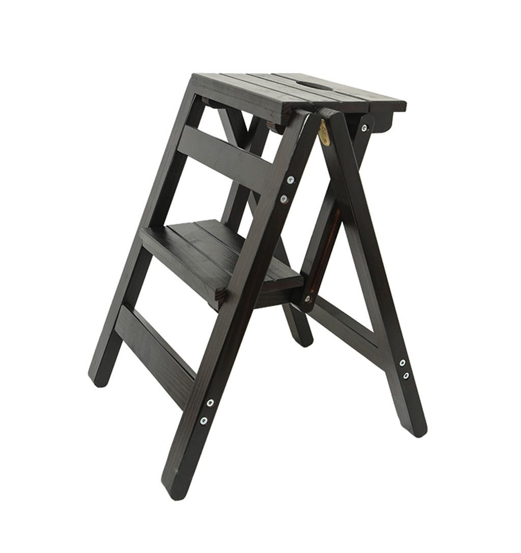 木製ステップはしご折りたたみスツール 革新的な創造的な折りたたみは、ライブラリステップを折りたたむ多機能木製のはしごのスツールキッチンオフィスを使用ラダーの椅子2段 - ブラック B07NXRPJHP